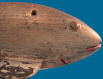 head detail, unknown maker fish decoy from Chautauqua Lake, pre-1905